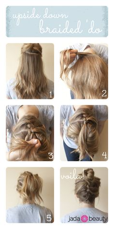 Upside Down Braid Bun / 22 No-Heat Styles That Will Save Your Hair (via BuzzFeed)