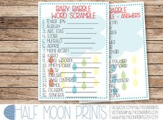 Rainbow Raindrops Rain Cloud Baby Shower Printable Word Scramble Game with Answers - INSTANT DOWNLOAD