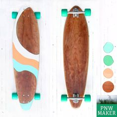 Handcrafted Cherry Longboard 'ALOHA' by PNWmaker on Etsy