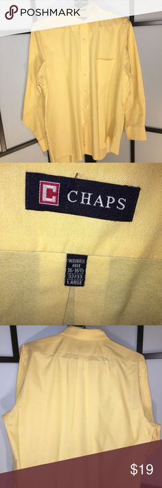 Chaps Oxford Wrinkle Free Long Sleeve Yellow Shirt Chaps Oxford Wrinkle Free Men's Long Sleeve Yellow Casual Shirt Large  Size: 16-16.5 - 32/33 - Large  All items are from a pet free and smoke free home  If you have any questions, leave a message! Chaps Shirts Casual Button Down Shirts