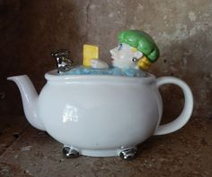 "Treat yourself to a ""spa"" of tea when you use this adorable LADY IN BATHTUB TEAPOT. In excellent unused condition. 