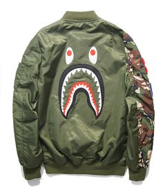 Cheap coat hood, Buy Quality jacket coat directly from China coated canvas Suppliers: 	2014 High Quality Winter rare bape hip hop men jacket embroidery shark windbreaker baseball camo pocket outwear badge d