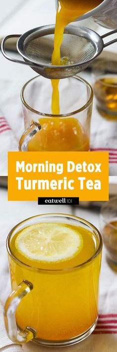 How to Make Detox Turmeric Tea. Start the day with this flavorful and healing lemon, ginger and turmeric detox tea. This turmeric tea is a combination of antioxidant and anti-inflammatory ingredients, with a fabulous flavor and l… Dietas Detox, Detox Kur, Lemon Detox, Apple Detox, Liver Detox, Detox Week, Detox Plan, Week Diet, Lemon Cleanse