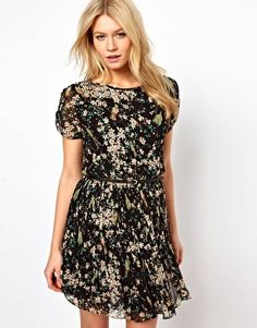 Oasis Bird Print Pleated Dress