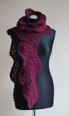 Crocheted lace scarf in beet color. $45.00, via Etsy.