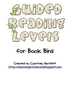 Guided Reading Levels Labels from A to Z for classroom library and book organization. Guided Reading Levels, Reading Strategies, Book Organization, Classroom Organization, Classroom Ideas, Book Bins, 3rd Grade Reading, Third Grade, Readers Workshop