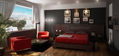 Decoracion Diseño: Elegante dormitorio principal hecho en 3D con colores marron, negro, rojo y blanco