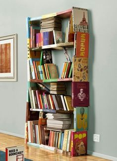 A bookshelf made with books