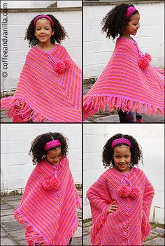 Girl's Poncho with Mega Pompoms - Crochet Pattern - Coffee and Vanilla