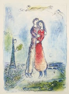 Marc Chagall -  La joie, 1981 offset lithograph from Catalogue Raisonne issue #141 15 x 11.25 inches