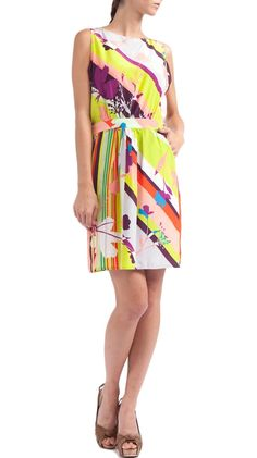 Silk Boat Neck Blouson Dress, Multi Scarf Print by Polli Says :)