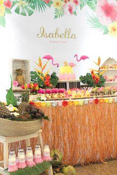 Dessert Table from a Tropical Hawaiian Flamingo Party via Kara's Party Ideas Aloha Party, Moana Birthday Party, Moana Party, Tiki Party, Luau Birthday, Festa Party, Luau Party, Birthday Party Themes, Beach Party
