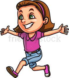 Little Girl Running For A Hug Cartoon Clipart Vector - FriendlyStock Hug Cartoon, Running Cartoon, Girl With Brown Hair, Kids Vector, Girl Running, Cute Little Girls, Green Eyes, Blue Jeans, Royalty