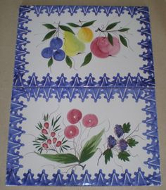 2 Hand Painted Tiles Italy Zanolli Fruit with Blue Border | eBay