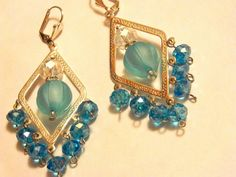 Silver tone and blue crystal Chandelier dangle earring by gr8byz, $9.00