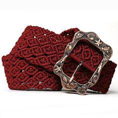 Macrame Belt Maroon Autumn women's knotted handmade by makrame, $112.00
