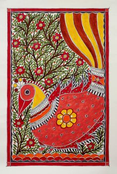 Madhubani painting - Dancing Bird | NOVICA Flaunting bright feathers, a gentle bird performs a graceful dance. Flowers fill a blossoming tree and the scene is depicted in dazzling color. Vidushini works in the Madhubani style, painting on handmade paper