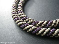 Beginning Tutorial: Russian Spiral Grape Vanilla Russian Spiral Rope - two 11/o colors, and one 8/o color