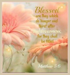 Matthew 5:6 KJV Blessed are they which do hunger and thirst after righteousness: for they shall be filled.