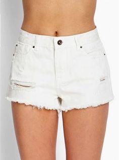 Short de jean blanco roturas. Tiro alto. Inquieta. SH152