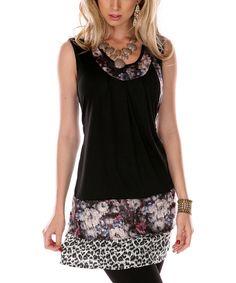 Black Floral & Leopard Sleeveless Tunic $29.99