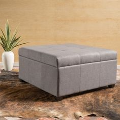 Christopher Knight Home Carlsbad Fabric Storage Ottoman