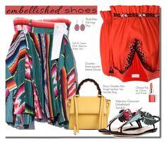 Embellished Shoes by carolinez1 on Polyvore featuring Giamba, Valentino, Elena Ghisellini, Sacai, Clinique, WhatToWear, polyvorecommunity, embellishedshoes and Polyvoreeditoral