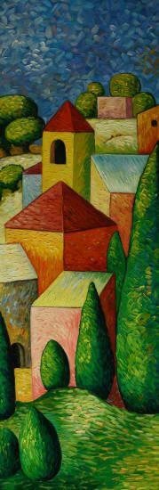 Cuadros abstractos, cuadros modernos con paisajes abstractos, II-Aldea en color