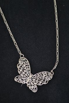 Butterfly necklace, Butterfly pendant, Filigree, Butterfly jewelry, 3D Butterfly, Children or Adult Necklace