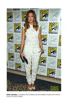 Katie Cassidy wears Houghton as she attends the 'Arrow' press line during Comic-Con International 2013  (Photo by Paul A. Hebert/WireImage)