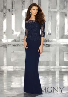 77c6f164f74 Jersey Social Occasion Dress with Pearl and Crystal Beaded Details on Bodice