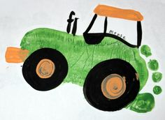 Tractor foot print I did this for my dad with Aiden and Rileys foot print for Christmas, and did a boat and palm tree with their foot prints as well for Kris' dad. They loved it and it turned out great. Hanging in their offices and homes. Baby Footprint Art, Footprint Crafts, Birthday Cards To Print, Cool Birthday Cards, Dad Birthday Card, Art Birthday, Birthday Gifts, Toddler Art, Crafts