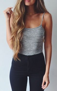 Charlotte Rousse + Topshop | Grey cropped tank, black high waisted pants, and simplistic necklaces