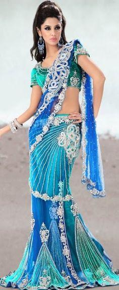 Blue sari| wedding saree| bridal sari