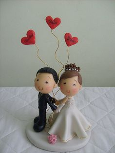 Simple and sweet wedding cake topper