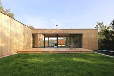 Image 6 of 28 from gallery of L House / Juri Troy Architects. Photograph by Juri Troy Vienna Woods, Wooden Facade, Wooden Room, Geothermal Energy, Outdoor Spaces, Outdoor Decor, Floor To Ceiling Windows, Troy, Terrace