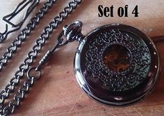 $140 Wedding Set of 4 Pocket Watches with Chains by PocketwatchPurveyor BEST price EVER! #pocketwatch #groomsmengift