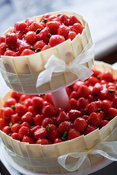 ultimate strawberry wedding cake