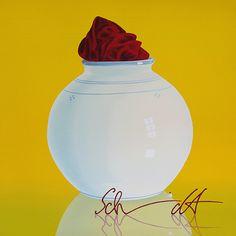 Ralf Schmidt|Vase mit Tuch (Geheimnis) | Acryl/Leinwand | 100 x 100 cm
