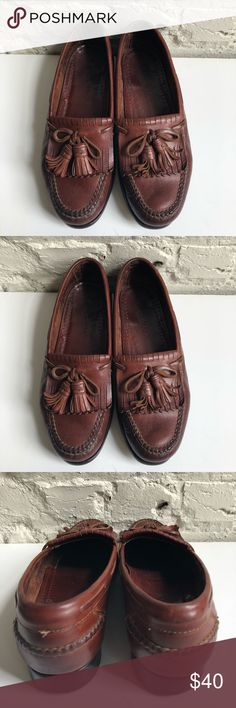Cole Haan Mens Brown Leather Tassle Loafers Sz. 9D The product you are purchasing is a pair of Cole Haan Brown Leather Tassel Kilt Loafers in a men's size 9D. They are in great shape and have been clean/conditioned, buffed, and polished. These still have a ton of life left in them and will look great at dinners, weddings, or even just a night out.   Style: Tassel Kilt Loafer   Color: Brown Leather   Size: 9D   Condition: Pre-owned w/ no damage or stains Cole Haan Shoes Loafers & Slip-Ons