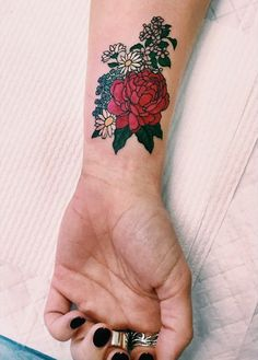 The bouquet of flowers is such a gorgeous option for a tattoo.