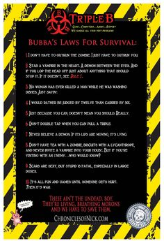 Bubba's Laws of Survival that hangs inside his store.
