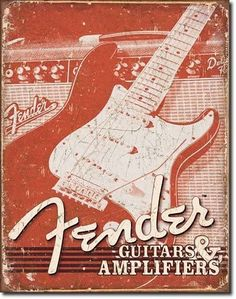 FENDER GUITARS & AMPLIFIERS - Vintage sepia tone store poster of a Stratocaster - Fender Strat - probably black and white - and a traditional amp for electric guitar.