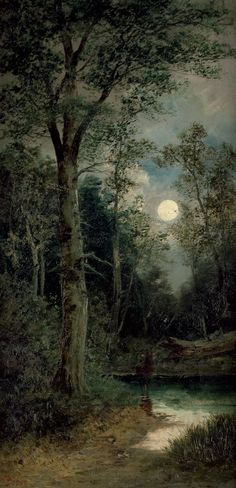 lovely moon with night sky clouds and the dark woods. I think I see a moose water. Bossi - Wiener Wald mit Hirsch bei Vollmond (n. Landscape Art, Landscape Paintings, Beautiful Moon, Nocturne, Moon Art, Nature Pictures, Nature Photography, Iphone Photography, Photography Props