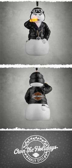Check out the carrot he's munching – it's his own nose! | Harley-Davidson Biker Snowman LED Ornament