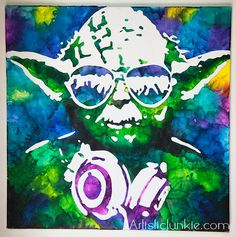 Yoda with headphones crayon on canvas by Artistic Junkie.