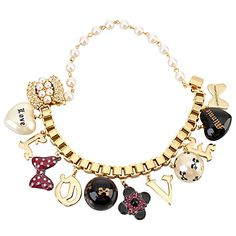 Love Charms Minnie Mouse Bracelet by Disney Couture. Mickey Mouse Jewelry, Mickey Mouse Earrings, Minnie Mouse, Disney Couture Jewelry, Disney Jewelry, Women Accessories, Jewelry Accessories, Gold Jewelry, Jewellery