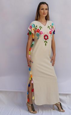 We are happy to offer you these vintage beauties, traditional clothing. HAND EMBROIDERED Vivid floral embroidery on the best linen fabric. The perfect wedding dress, also perfect for resort vacations of any kind. This product take many weeks to complete This is made to order and takes 4-6 weeks to be made. Please contact us with any questions. **Please note, that the listing is for one dress, all other images are for references, only.**