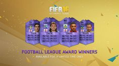 FIFA 16 Football League Awards Hero In-form Cards for FUT - Lewis Cook, Andre Gray, Bradley Dack, and Kemar Roofe