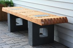 """Garden patio deck bench with poured concrete leg supports and wooden top. The concrete has large """"pegs"""" that show through the seat of the bench. These pegs have leaf motifs embedded in them by putting actual leaves into the concrete before it sets up. Furniture Diy, Cedar Furniture, Furniture Decor, Diy Furniture Decor, Outdoor Decor, Garden Bench Diy, Backyard Spaces, Wood Slats, Home Decor"""